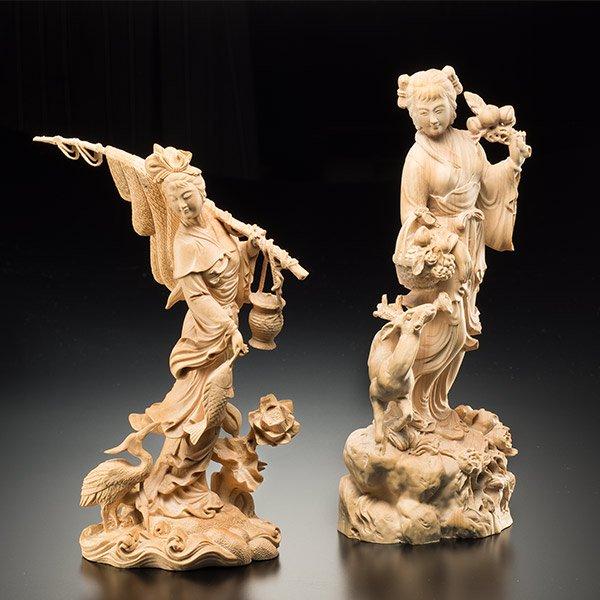 KW−1153 豊穣 〜喜びの乙女たち〜 2体セット 一杢彫り つげ