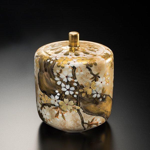 KW−1156  京焼清水焼 抱一写桜図香炉 山岡善昇