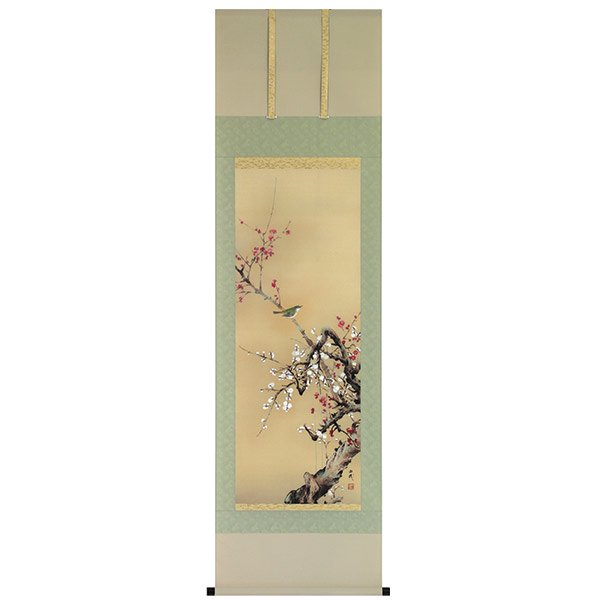 A−8528 紅白梅に鶯 画:石田由幾