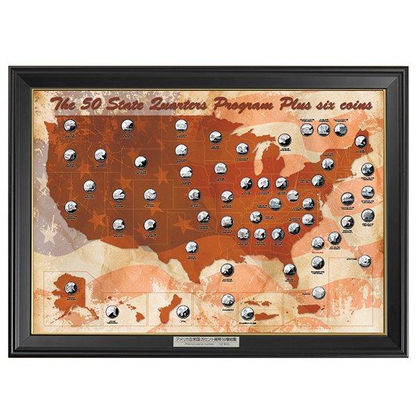 HB−1125 アメリカ造幣局が発行25セント(56枚セット)白銅貨56種「豪華木製額」セット