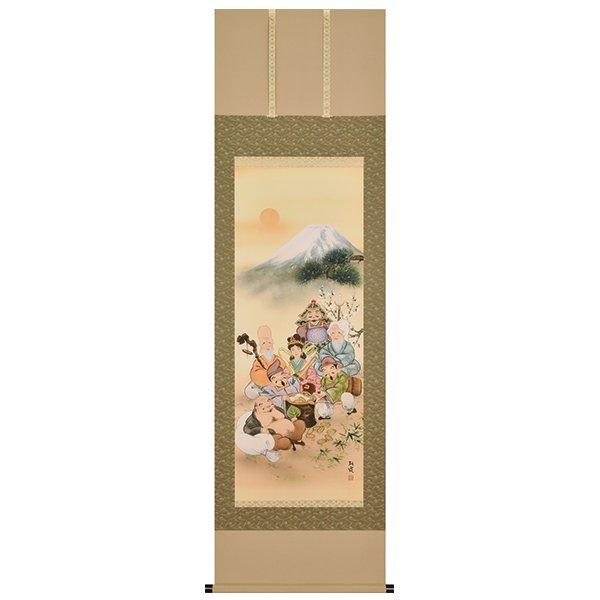 A−8949 吉祥七福神満開之図  石田朝霞 筆