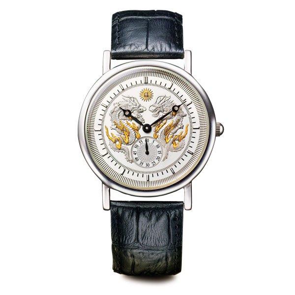 50589000 天皇陛下 御即位記念<令和(令和)の双龍>銀製腕時計 - 双龍翔け昇り、新時代を寿ぐ