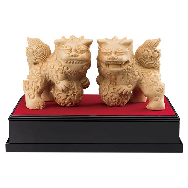 KW−1181 檜彫り(ひのきぼり) 獅子狛犬(ししこまいぬ) - 守護繁栄・家運隆盛のお守りに。一杢彫りの重鎮・葉 偉混氏による逸品!
