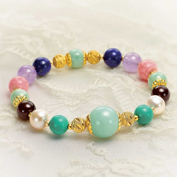 【4974000】神秘の翡翠ひすい 硬玉翡翠と6宝石のブレスレット