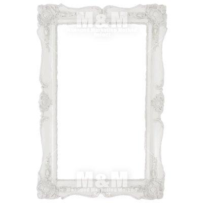 【フレーム】デザインアイテム 縦長の豪華な装飾のシャビーな白いフレーム , M\u0026M Collection