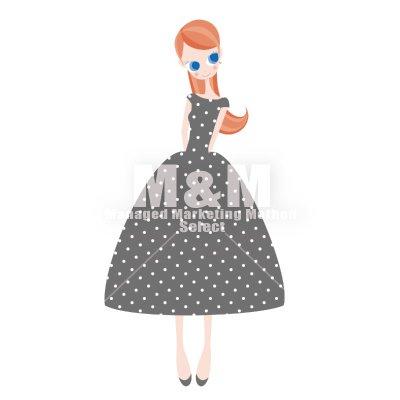 【イラスト素材】 woman 05 ウォームグレイの水玉ドレスの女の子 , M\u0026M Collection