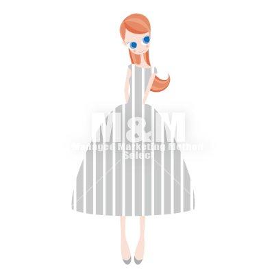 イラスト素材 Woman 07 ライトグレイの縦ストライプドレスの女の子 M M Collection
