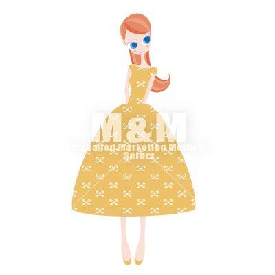 【イラスト素材】 woman 25 ライトオレンジのリボン柄ドレスの女の子 , M\u0026M Collection
