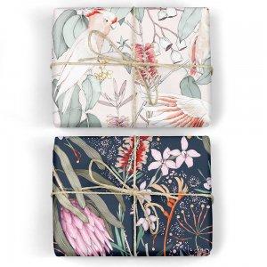 ネイビー花柄&オウムのダブルサイド包装紙/ラッピングペーパー