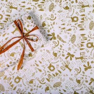 クリスマスイラストゴールドラッピングペーパー/包装紙 5枚