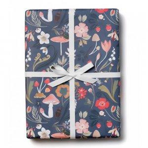 きのこと植物の包装紙/ラッピングペーパー