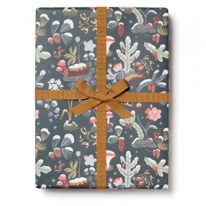 雪積もるキノコと苔の包装紙/ラッピングペーパー