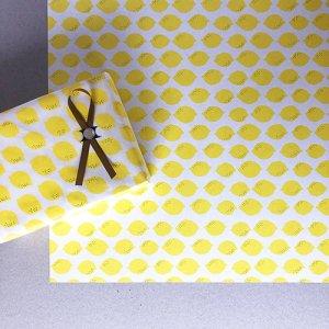 【大判オーダー】レモン柄包装紙 500枚