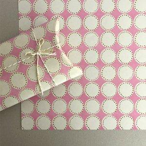 【大判オーダー】ピンク×黄土丸ドット柄包装紙