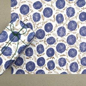【大判オーダー】ブルー×黄土の丸花柄包装紙/500枚