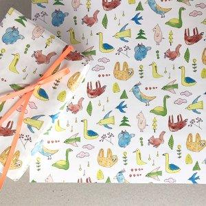 【大判オーダー】ゆるゆる動物柄包装紙/500枚