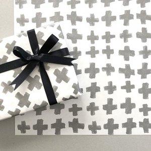 【大判オーダー】クロス柄グレー包装紙/500枚