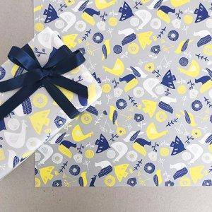 【大判オーダー】アオ×キイロ鳥と花柄包装紙/500枚