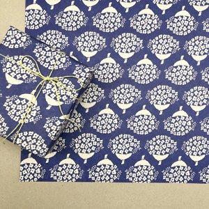 【大判オーダー】花束ネイビー柄包装紙