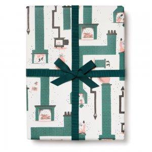 煙突とサンタクロースの包装紙/ラッピングペーパー