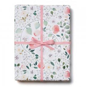 ホワイトフラワー柄包装紙/ラッピングペーパー