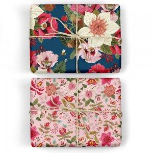 ピンクフラワーズ/花と蜂ダブルサイド包装紙/ラッピングペーパー