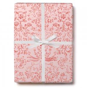 ピンクの動物画柄包装紙/ラッピングペーパー