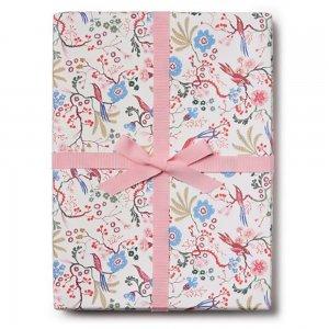 ピンクの花と鳥柄包装紙/ラッピングペーパー