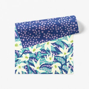 ユリと小花柄ダブルサイド包装紙