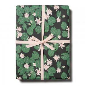 ハスの花ブラック柄包装紙/ラッピングペーパー
