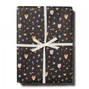トラと花ブラック柄包装紙/ラッピングペーパー