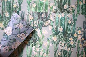 サボテン/花と鳥のダブルサイドペーパー