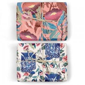 青い鳥/ピンクの花のダブルサイドペーパー