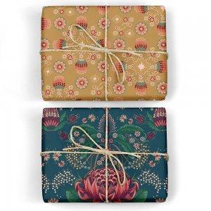 ネイビーのバレンシア柄/黄土のフローラルダブルサイド包装紙/ラッピングペーパー