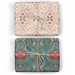 グリーンのバレンシア柄/ペールピンクのフローラルダブルサイド包装紙/ラッピングペーパー
