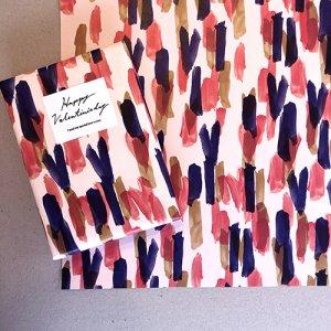 【大判オーダー】BRUSH HART/赤×紺包装紙/500枚