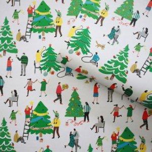クリスマスツリーの準備柄包装紙/ラッピングペーパー