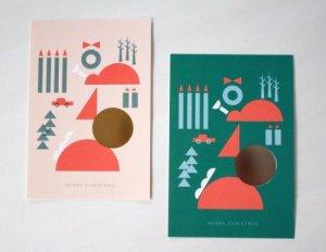 ZUKEI Christmas箔押ポストカード(送料込)4枚セット