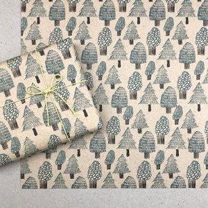 【大判オーダー】木のイラストペーパー/グリーン包装紙/500枚