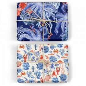 オクトパス/海の生物柄ダブルサイド包装紙/ラッピングペーパー