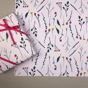 【大判オーダー】野花のイラスト柄包装紙/500枚