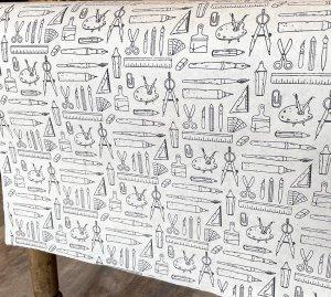 ネパール手漉き紙 モノトーン文房具柄 /生成り/包装紙/ラッピングペーパー