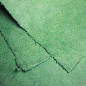 ネパール手漉き紙 無地(プレーン)ペーパー グリーン/包装紙/ラッピングペーパー
