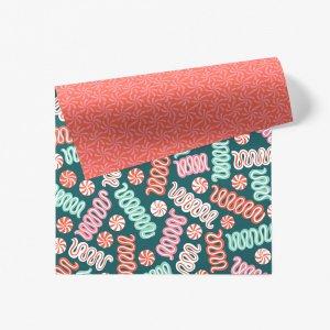 クリスマスポップキャンディ柄ダブルサイド包装紙/ラッピングペーパー