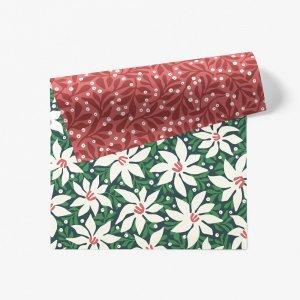 クリスマスホワイトフラワーと小枝柄ダブルサイド包装紙/ラッピングペーパー