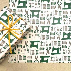 Dua × REGARO PAPIRO コラボ ソーイング ラッピングペーパー/包装紙 グリーン5枚