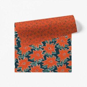 【11月初旬入荷発送予約】ワイルドポインセチア柄ダブルサイド包装紙