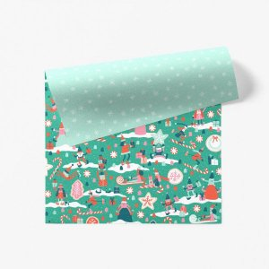 【11月初旬入荷発送予約】クリスマスキャンディータウン柄ダブルサイド包装紙