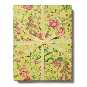 赤い花とミツバチ柄包装紙/ラッピングペーパー