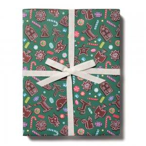 グリーンのジンジャーブレッド柄包装紙/ラッピングペーパー